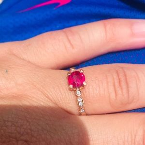 Natural ruby, diamonds & 18k gold